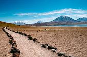 Região das Lagoas Andinas no deserto do Atacama no Chile.