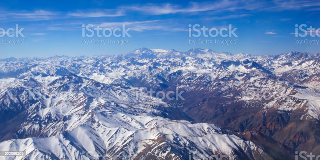 Andean mountains. Aerial photo stock photo