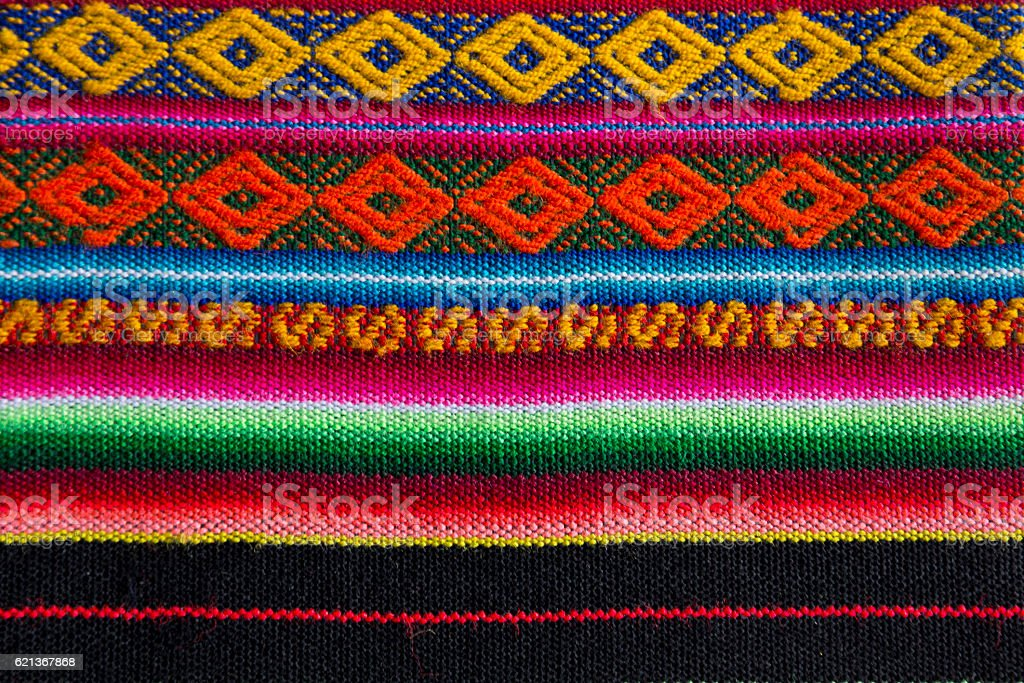 Andean textile in alpaca and sheet wool stock photo