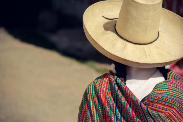 Andean woman with hat stock photo