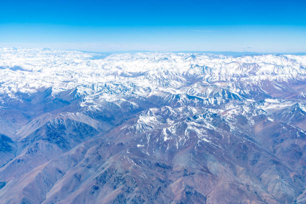 Andes Aerial view at Dawn stock photo