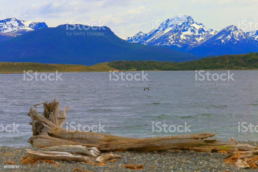 Andes landscape in Beagle channel sea, Ushuaia - Tierra Del fuego, Argentina stock photo