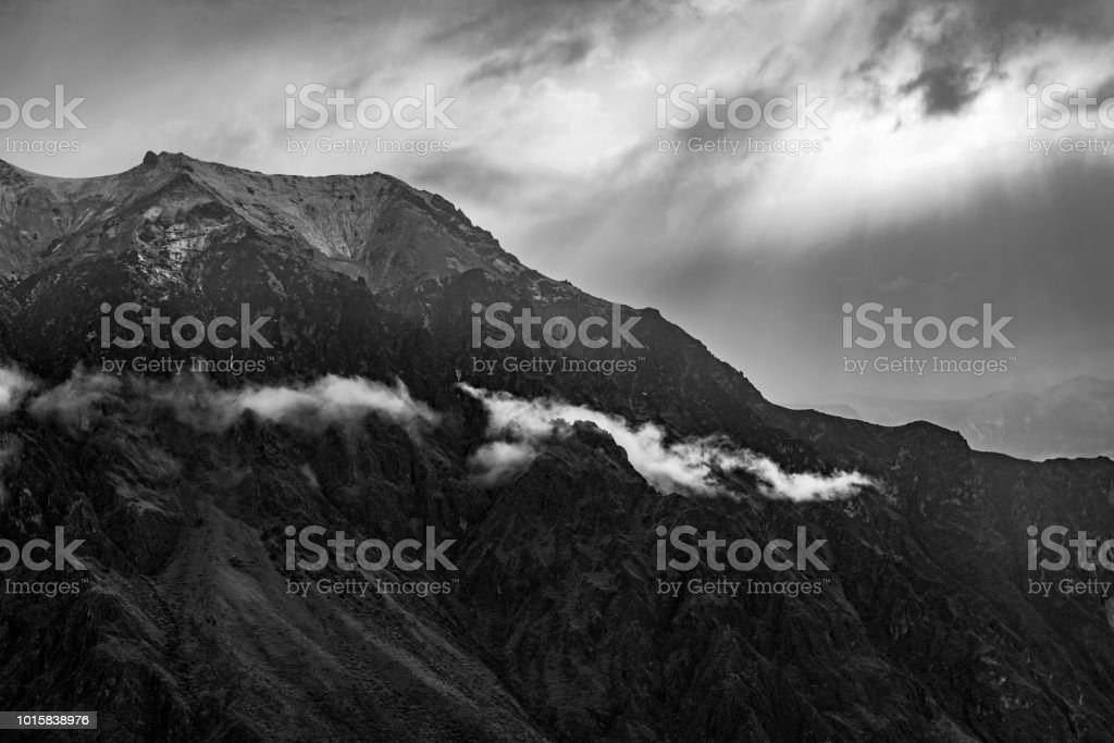 Andes Mountain Range in Black and White, Peru stock photo