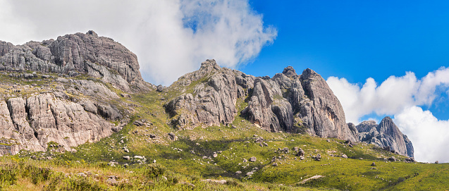 istock Andingitra massif, high rocky mountains, as seen from the valley during trek to Pic Boby 1217349309