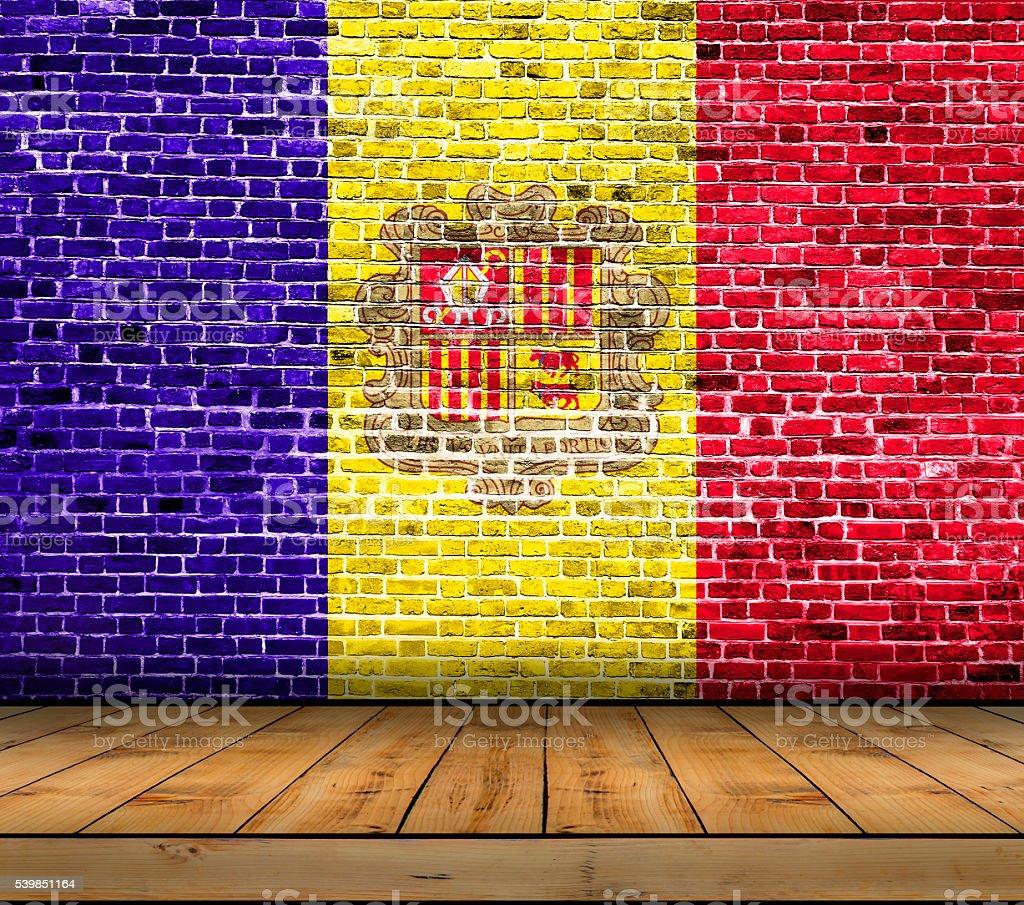 Peindre Un Mur De Brique photo libre de droit de andorre drapeau de la peinture sur
