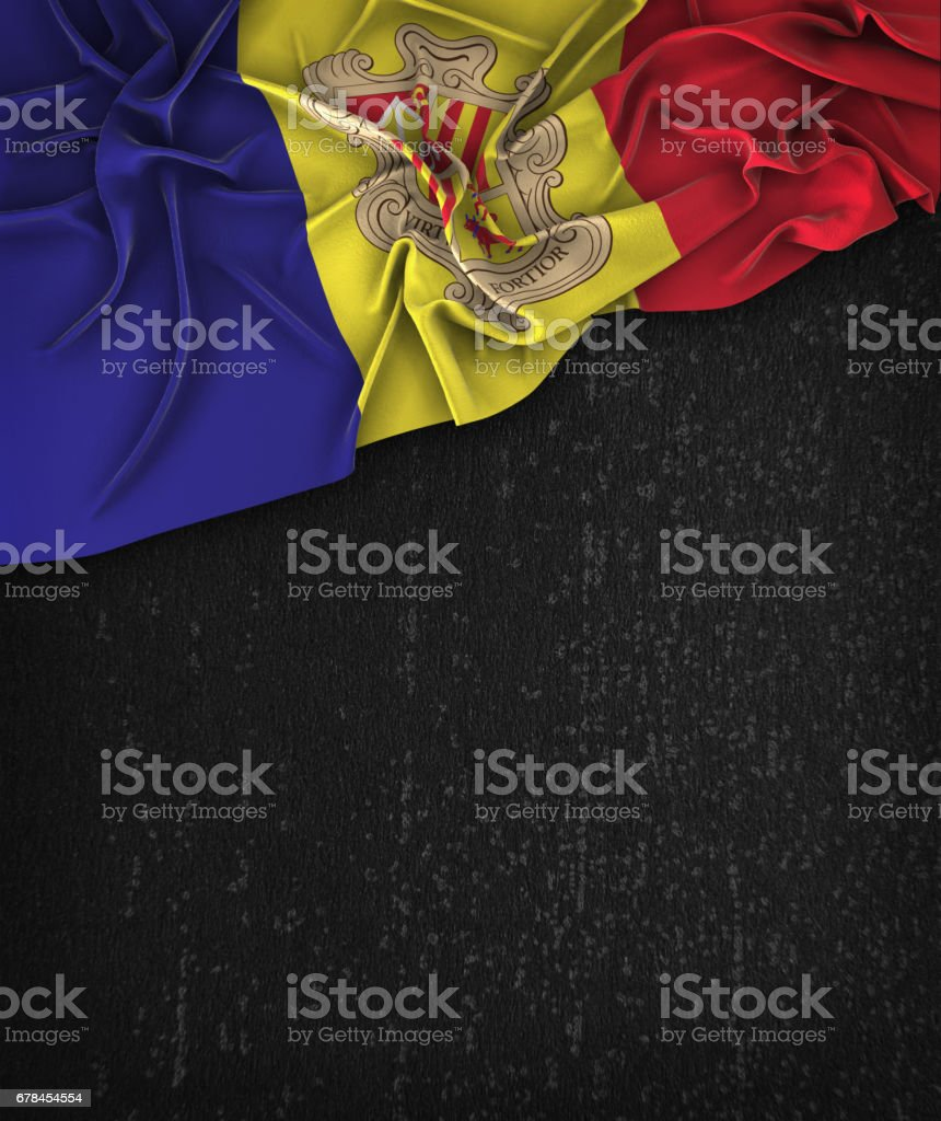 Andorra Flag Vintage on a Grunge Black Chalkboard With Space For Text royalty-free stock photo