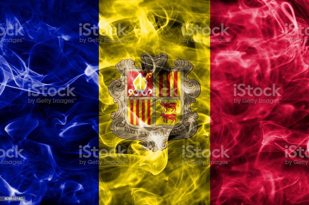 Andorra smoke flag stock photo