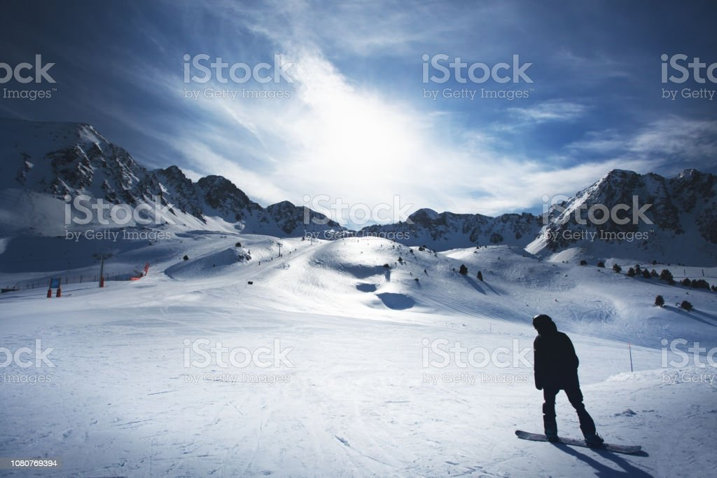 Andorra winter mountains stock photo