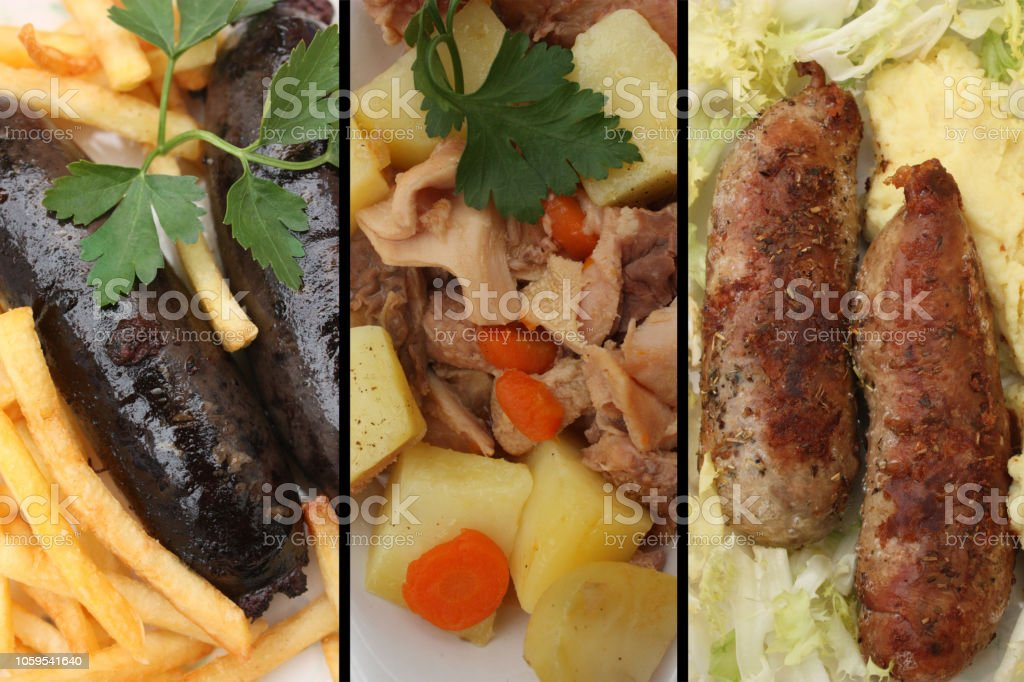 Pudding de Andouillette Black Tripes servi avec pommes de terre cuites - Photo
