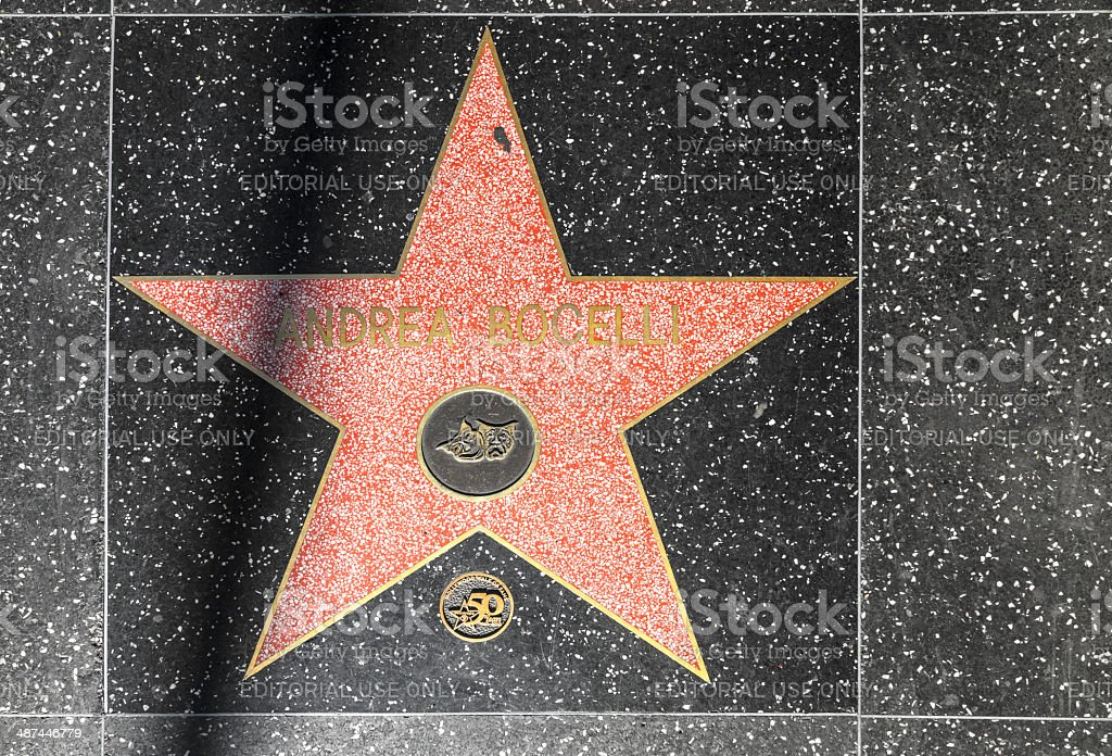 Andrea Bocelli's star on Hollywood Walk of Fame stock photo