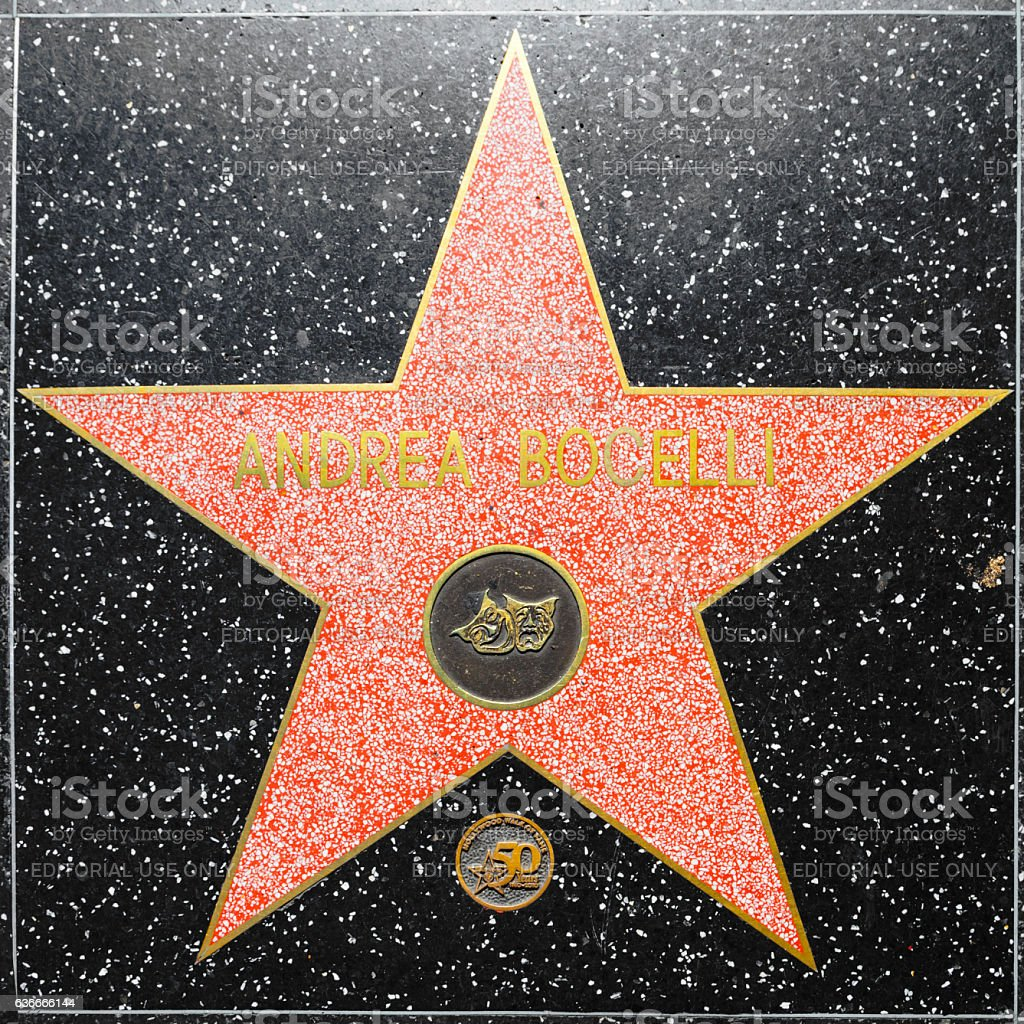 Andrea Bocellis star on Hollywood Walk of Fame stock photo