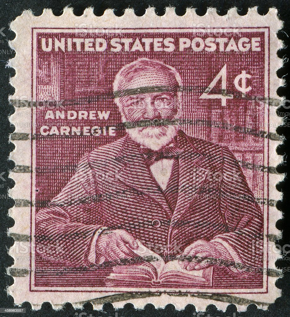Andrew Carnegie Stamp stock photo