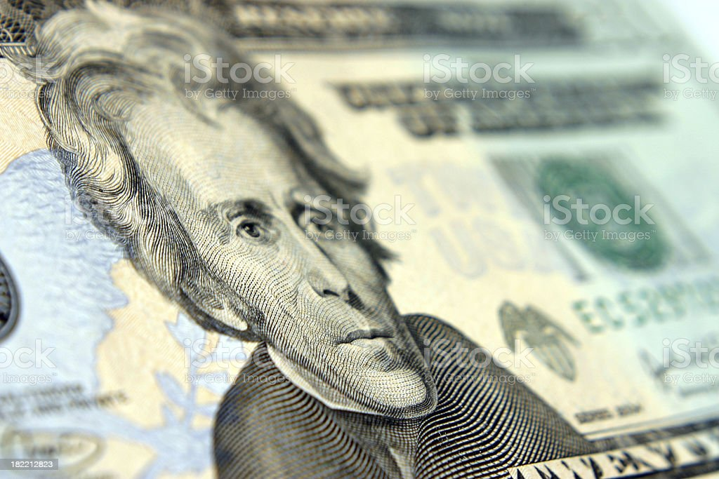 Andrew Jackson 20 Dollar Bill stock photo