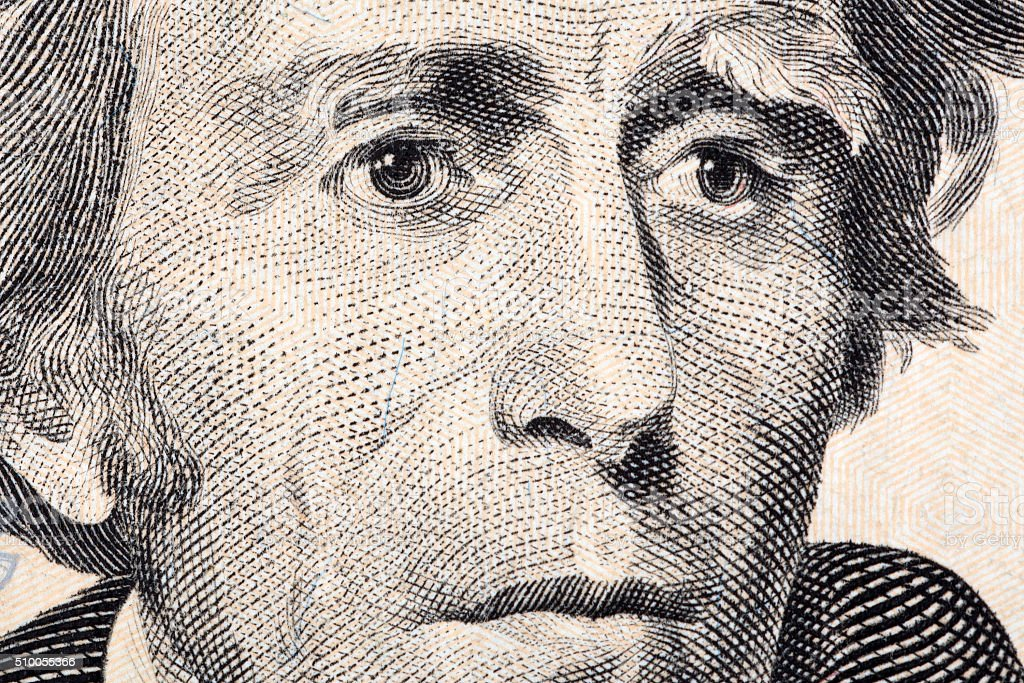 Andrew Jackson a close-up portrait stock photo