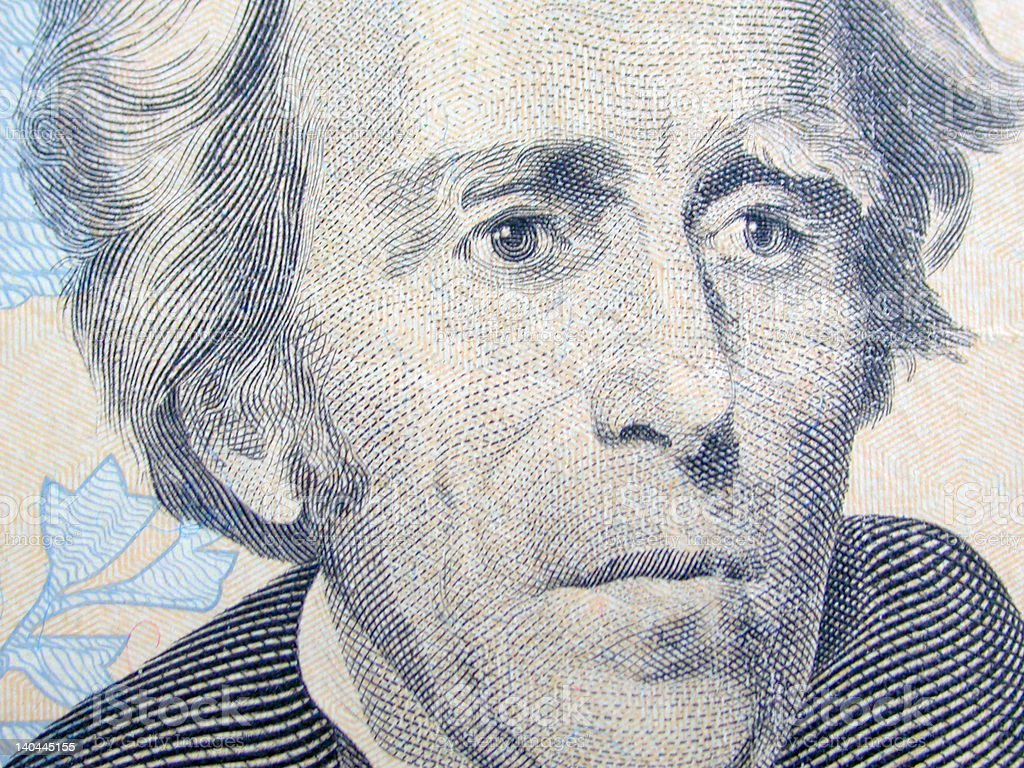 $20 - Andrew Jackson Close Up stock photo