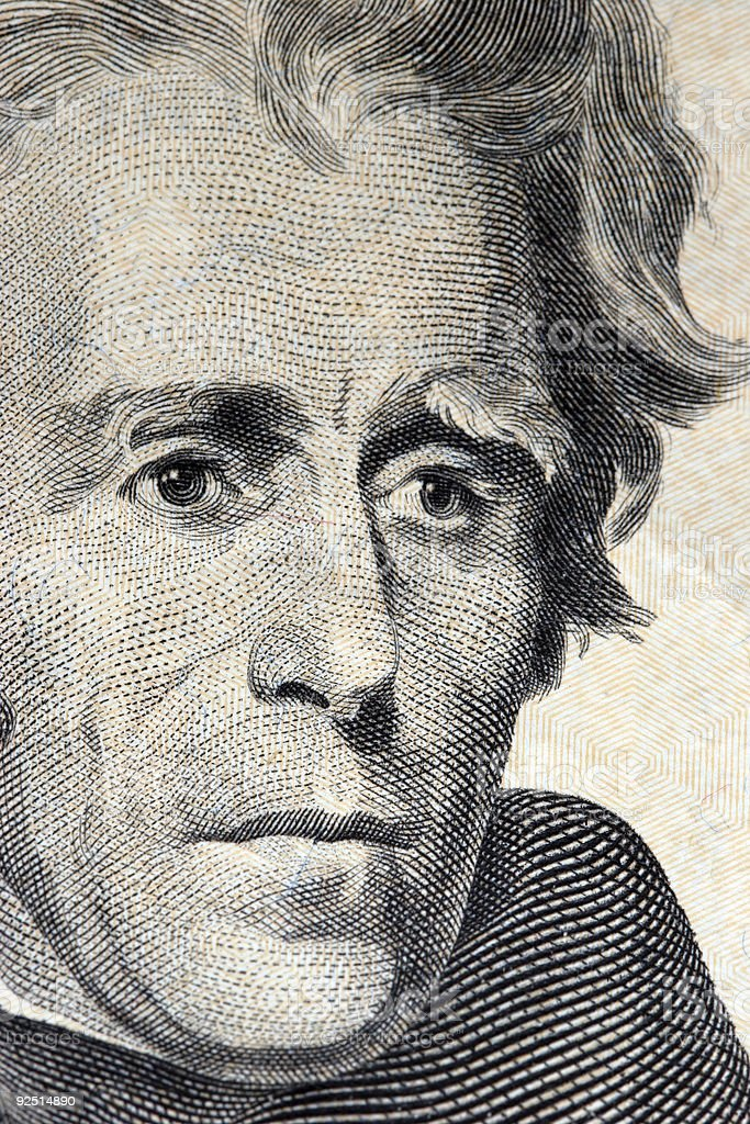 andrew jackson on 20 dollar bill stock photo