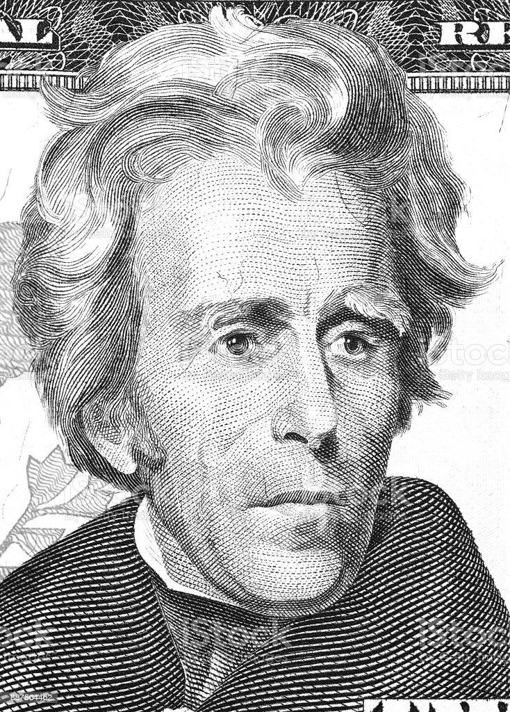 Andrew Jackson portrait from us 20 dollars. stock photo