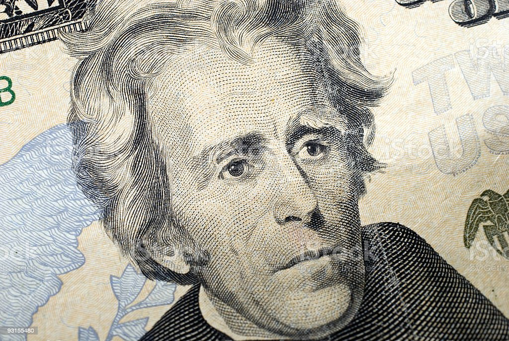 Andrew Jackson Portrait On $20 Bill stock photo
