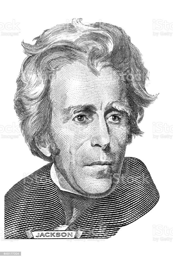 Andrew Jackson portrait stock photo