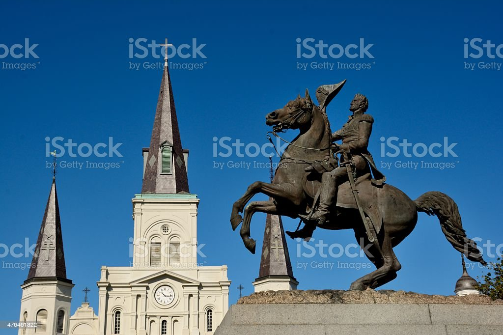 Andrew Jackson statue at Jackson square stock photo