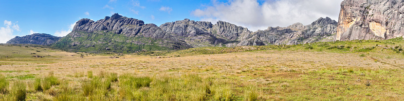 istock Andringitra Massif in Madagascar, wide panorama as seen from valley during trek to Pic Boby peak 1254765478