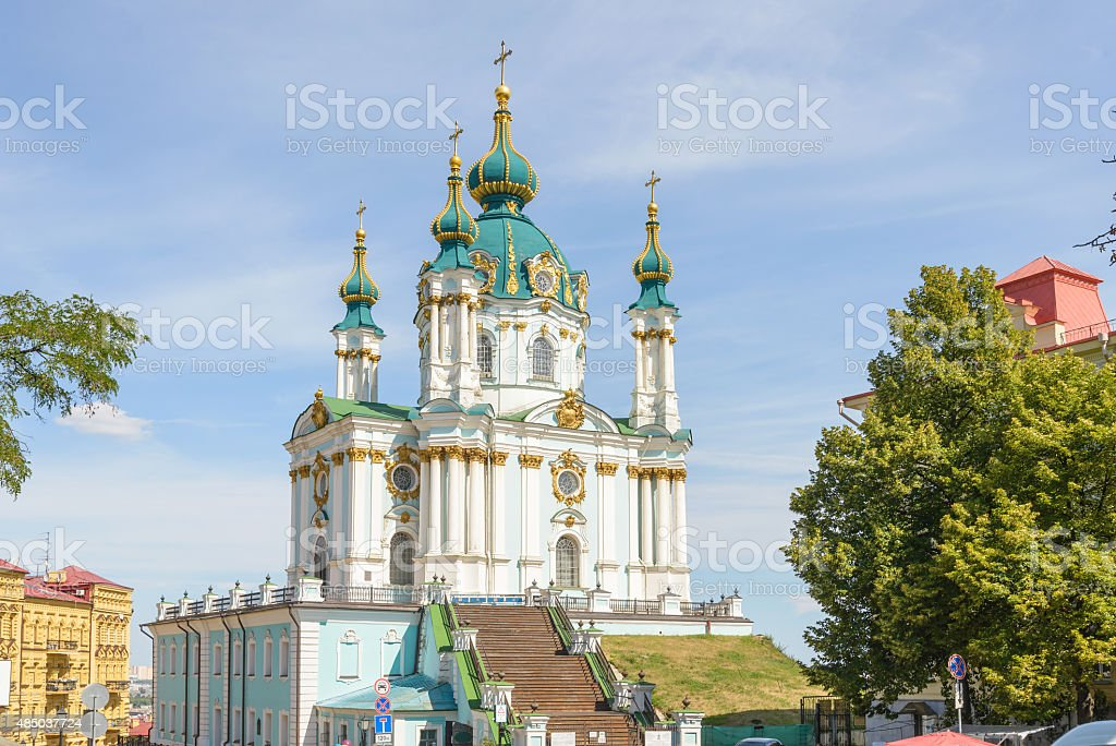 Andriyivskyy church  in Kiev stock photo