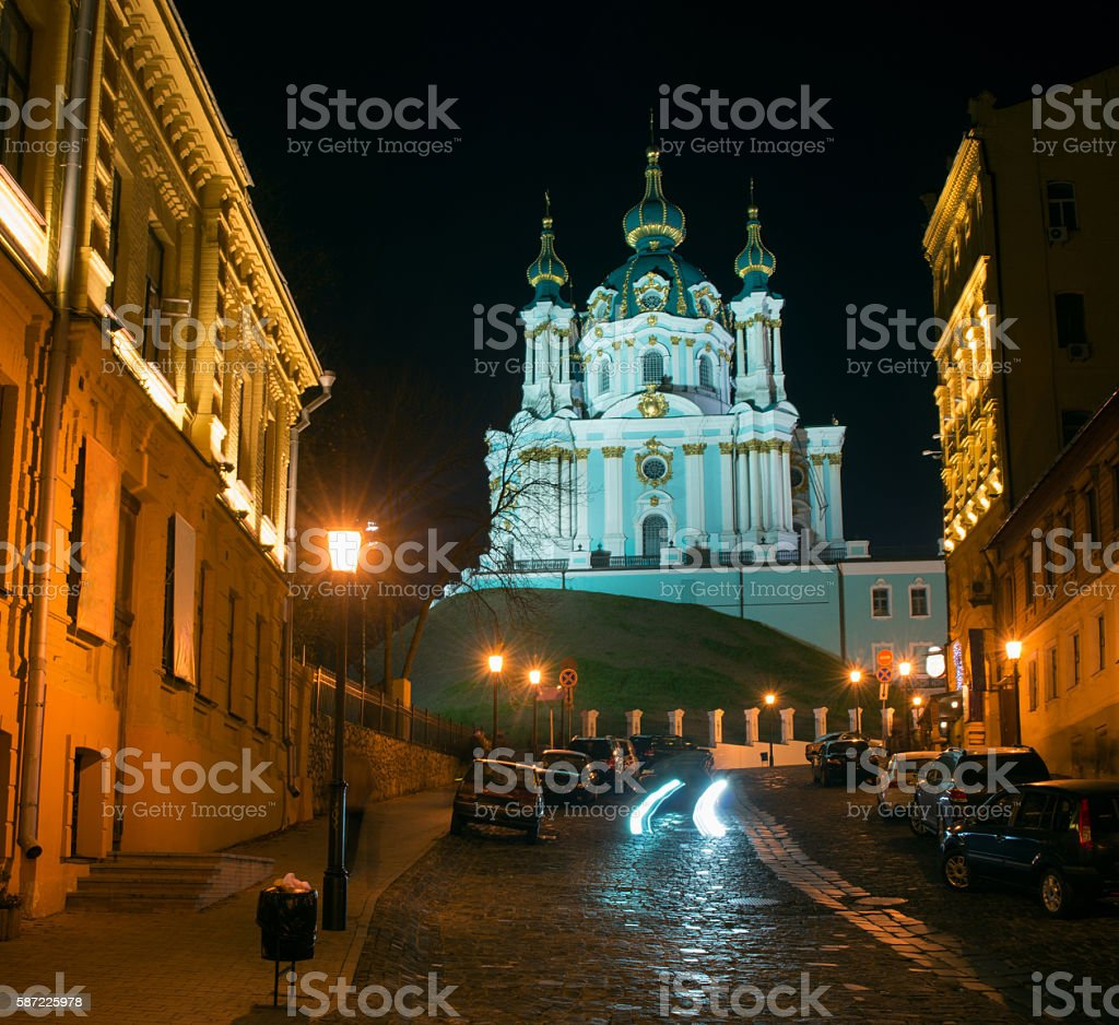Andriyivskyy Descent with the Saint Andrew's Church at night stock photo