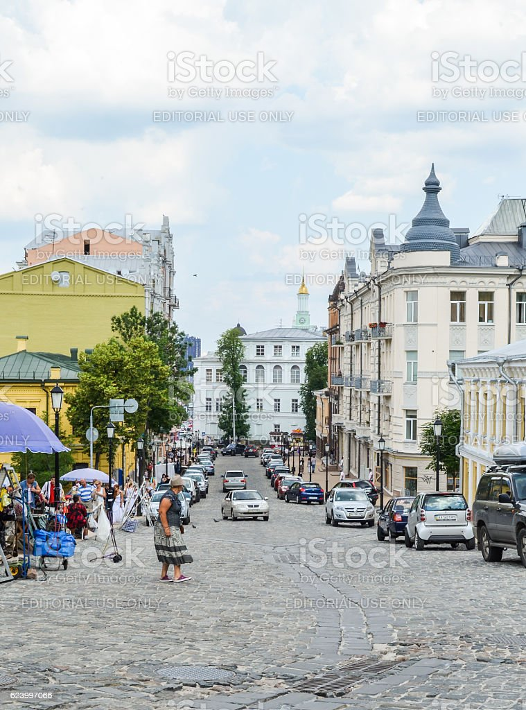 Andriyivskyy Uzvoz Descent or Spusk in downtown stock photo