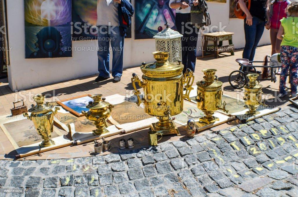 Andriyivskyy Uzvoz Descent or Spusk with vendors selling Samovar souvenirs stock photo