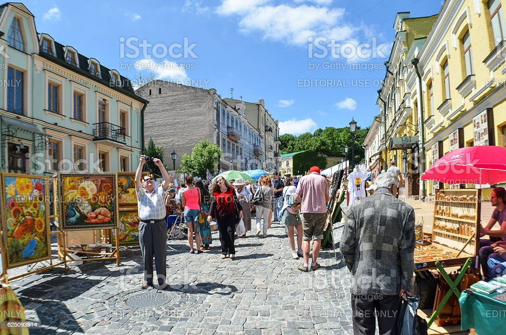 Andriyivskyy Uzvoz Descent or Spusk with vendors selling souvenirs stock photo