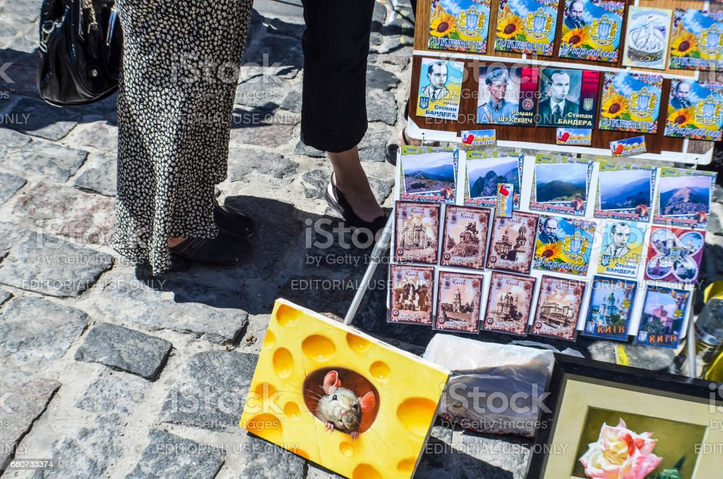 Andriyivskyy Uzvoz Descent or Spusk with vendors selling souvenirs paintings and people walking stock photo