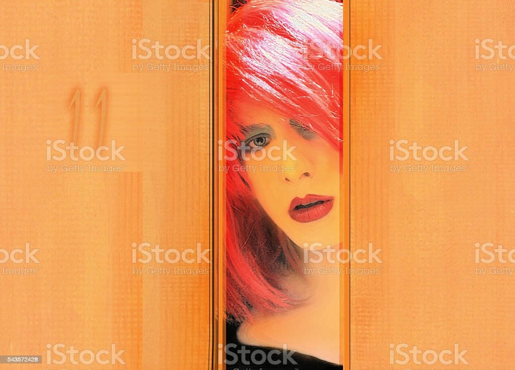 Androgenous crossdressed transgender Man at the Door stock photo