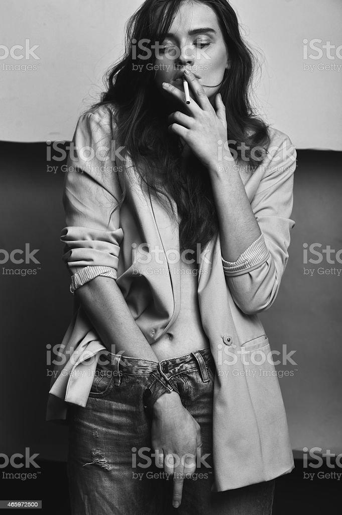 Androgynous, girl like a boy stock photo