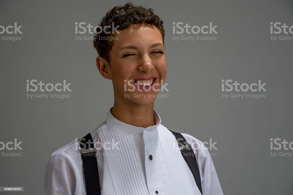 Androgyny_Breaking Character stock photo