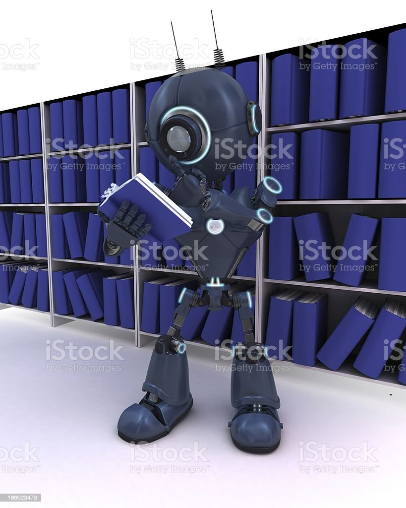 Android at bookshelf royalty-free stock photo