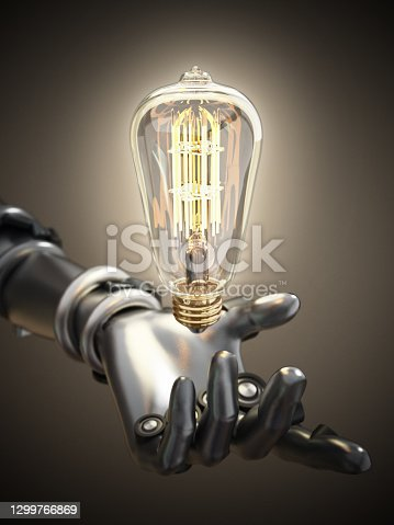 Android holds vintage lightbulb in the hand.