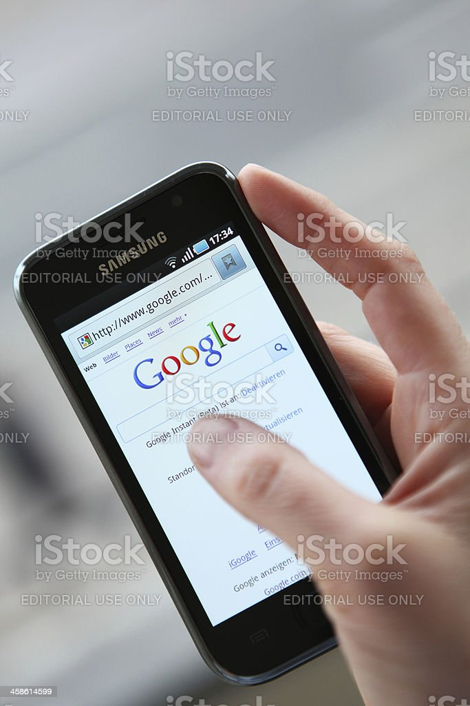 Android Phone with Google royalty-free stock photo