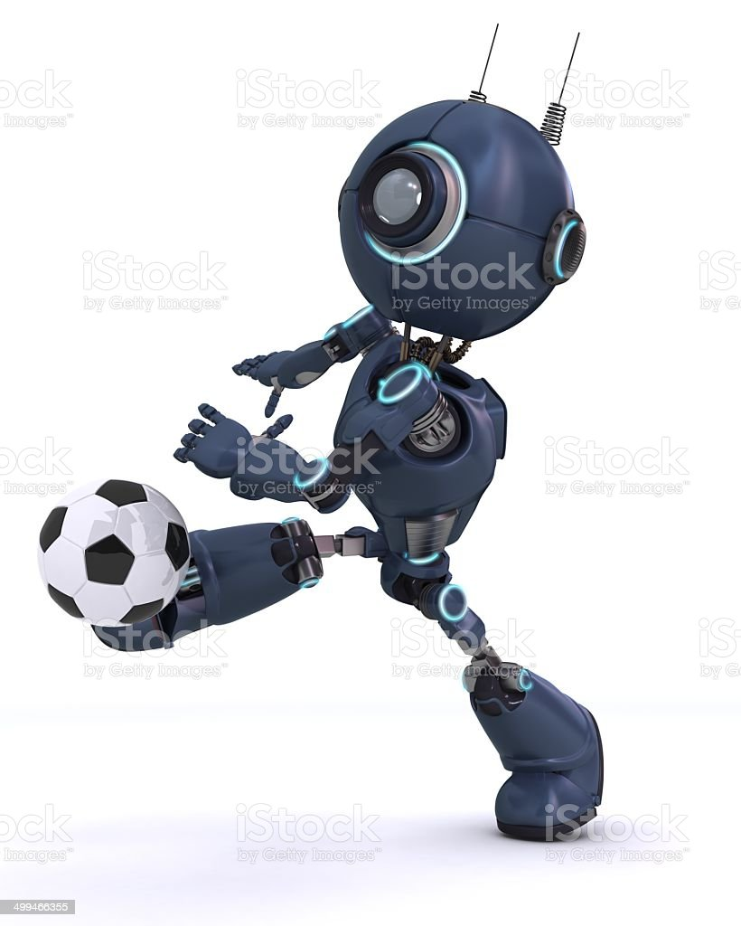 Android playing football royalty-free stock photo