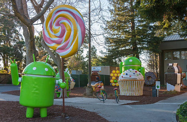 Android replicas in Google campus stock photo
