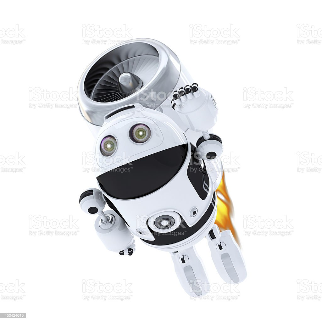 Android robot flying with jet pack royalty-free stock photo