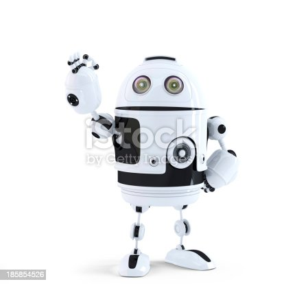 istock Android robot showing ok sign. Technology concept 185854526