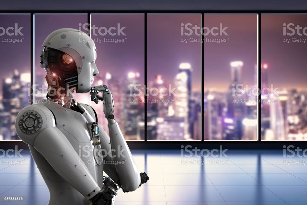 android robot thinking in office stock photo
