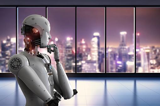 Pensamiento De Robot Android En La Oficina Foto de stock y más banco de imágenes de Ciborg