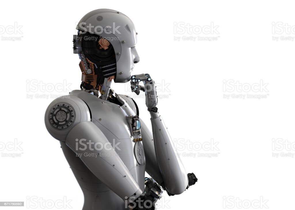 android robot thinking royalty-free stock photo