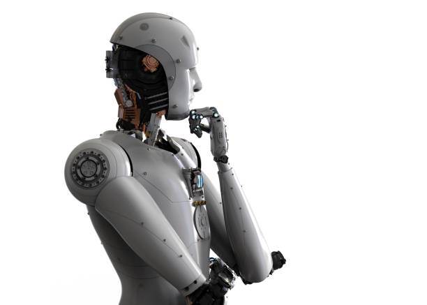 android robot thinking stock photo