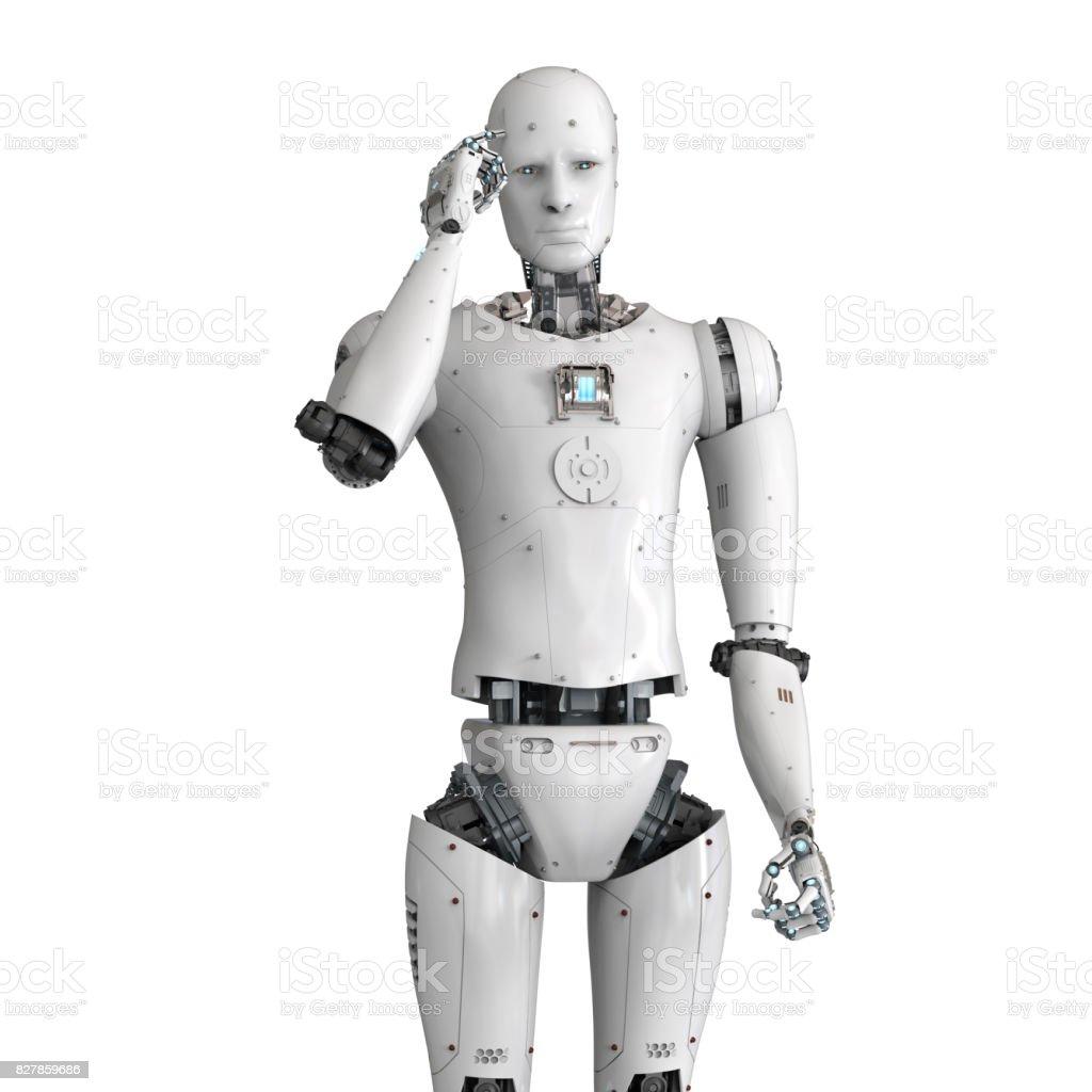 android robot thinking stock photo