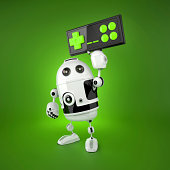 istock Android Robot with a wireless gamepad 450670081