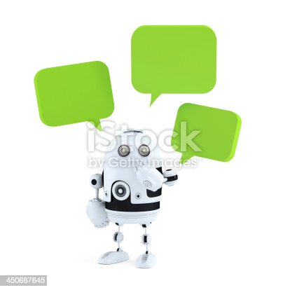 521048154 istock photo Android robot with chat bubbles. 450667645