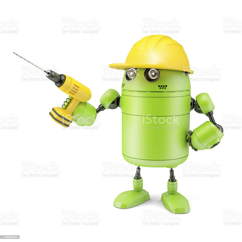 Android robot with drill. Technology concept royalty-free stock photo