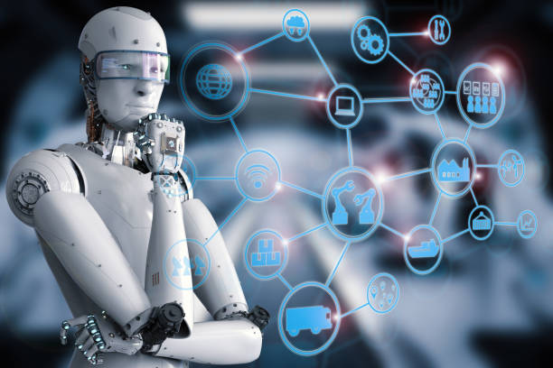 android robot with industrial network - industrial revolution stock pictures, royalty-free photos & images